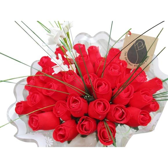 3 Dozen All Red Valentines Day Wooden Rose Bouquet